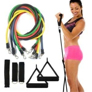 NEW RESISTANCE BAND 11pc HOME WORKOUT GYM SYSTEM